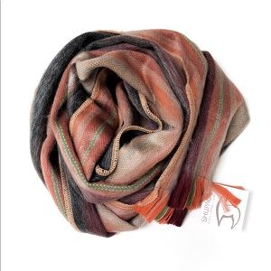Shupaca Alpaca Striped Scarf with Fringe Detail